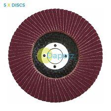 "5 x Flap Sanding Discs 115mm 80 Grit Aluminium Oxide 4.5"" Angle Grinder"