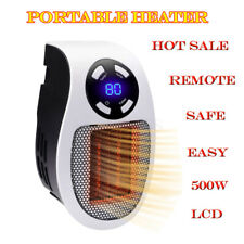 Portable Ceramic Mini Heater Wall Outlet Plug In Space Heater 500W Timer Remote