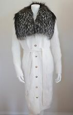 $3995 NWT Authentic VERSACE FOX FUR Wool Knitted Belted Cardigan Coat IT-40 US-6