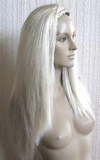 light blonde straight half head long hair wig headband fancy dress new