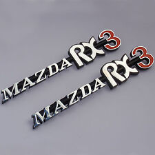 MAZDA RX3 , 2x metal badges chrome, Brand New, for Rotary Rotor 12A 13B Savanna