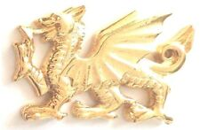 Welsh Dragon Pewter Badge Pin Gold Plated Wales Souvenir Gift Bag Purse Charm
