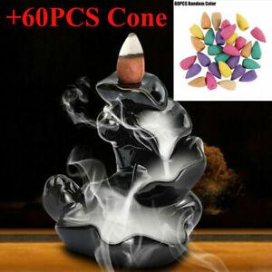 Backflow Ceramic Mountain Waterfall Smoke Incense Burner Cones Holder + 60Cone