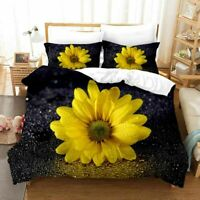 3D Sunflowers Bedding Set Doona Comforter Cover Duvet Cover Pillow Case Queen