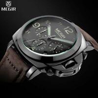 Armbanduhr Luxus Militär Topvente Herren Mégir Leder Chronograph Wasserdicht
