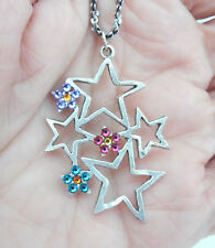 NEW ANNE KOPLIK CLUSTER OF STARS & FLOWERS SWAROVSKI CRYSTALS NECKLACE