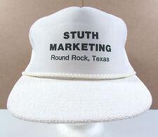 Vintage White Stuth Marketing Round Rock Texas Adjustable Snapback Hat Cap