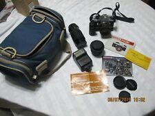 Pentax MUE Super 35MM Film Vintage Camera & Lens + Flash+ Bag & Manual
