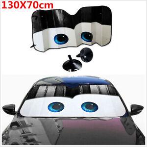 1Pcs Black Cartoon Eyes Foldable Car Front Windshield Cover Sun Shade Protector