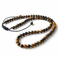 Fashion Mens Women Lava Stone Tigers Eye Yoga Beaded Necklace Gemstone 6mm Beads