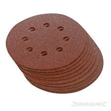 Hook and Loop Punched 125mm Sanding Discs 240 Grit, sandpaper circular pads 10pk