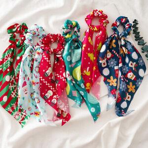 XMAS Print Ponytail Scarf Bow Elastic Hair Rope Tie Scrunchies Ribbon Hair Band