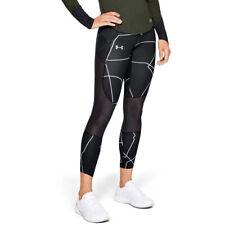 Under Armour UA HeatGear Ladies Capri Crop Graphic Black Sports Running Leggings