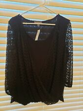 Roz & Ali Top Woman XL Knit Black Lace Long Sleeve Top, NWT