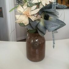 """Vintage Brown Pottery Vase ~8"""" Tall Decorative Home Decor Signed"""