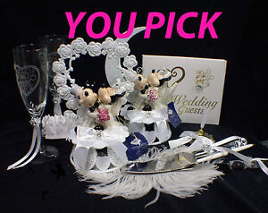 Mickey & Minnie Mouse Disney Wedding Cake Topper Funny Pick Heart or Moon Top