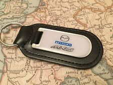 MAZDA MX 5 Key Ring Printed and Resin Coated On Real Leather