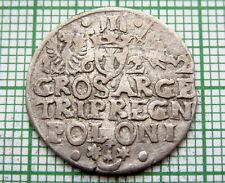 POLAND LITHUANIA SIGISMUND III WASA 1622 TROJAK - 3 GROSZE GROSCHEN, SILVER