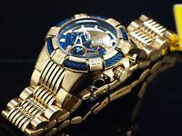 New Invicta Men's 50mm MIGHTY BOLT Quartz Chronograph Blue GF Dial Twisted Watch