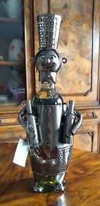 Flaschenhalter aus Metall Koch ca. 40 cm hoch Geschenk Weinflaschenhalter Neu