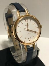 Fossil Women's Annette Navy Leather Strap Watch ES4359 NEW IN BOX!!