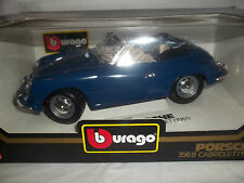 Burago 3051 Porsche 356B Cabriolet 1961 Blue 1/18 Mint & Boxed (Made in Italy)