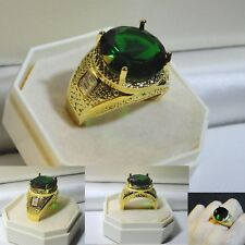 Men's Luxury 18kt Yellow Gold Filled Statement Emerald Crystal Ring, sz U, GIFT