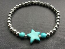 Stackable TURQUOISE STAR Stretch Beaded Bracelet  Boho Bijoux