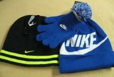 Lot of 2 Nike Boys 8/20 Knit Beanies Blue/White w/Gloves-Reversible Black/Volt