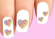 Waterslide Nail Decals Set of 20 - Colorful Rainbow Hearts Assorted