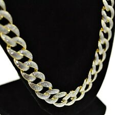 "Mens Frosted Hip Hop Chain Glitter Cuban Links Gold Finish 13MM x 30"" Necklace"