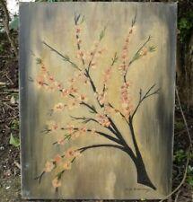 More details for vintage oil painting on canvas floral buds signed alek strathearn