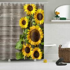 "Sunflower Wood Rural Shower Curtain Waterproof Fabric Bathroom Hooks Set 72x72"""