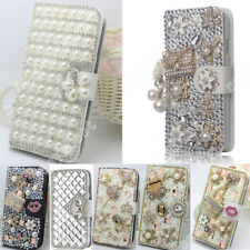 Bling 3D Crystal Diamond Jewelled Case Cover Soft PU Leather For Smart Phone