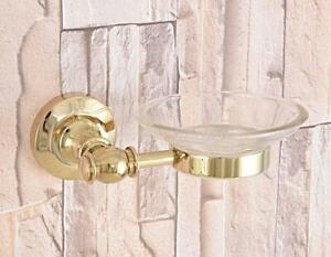Luxury Gold Brass Bathroom Shower Soap Dish Storage Wall Mount Glass Soap Holder