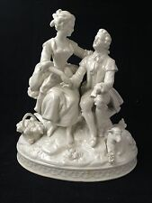 antique porcelain. Dresden couple in white. Marked