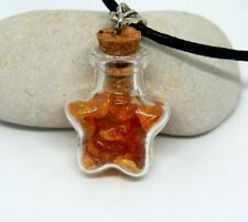 Natural original amber stone from Baltic sea Mini Glass bottle with amber pieces
