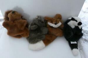 4 FLUPPETS BADGER, FOX, SQUIRREL, HEGEHOG HAND GLOVE PUPPETS - VINTAGE