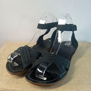 Clarks Black Nubuck Leather UK Size 4 EU Size 37 Ankle Strap Sandals