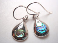 Small Abalone Teardrop Shaped 925 Sterling Silver Dangle Earrings