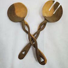 New listing Vintage Hand Carved Ethnic Folk Art Monkey Pod Salad Serving Utensil Set