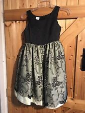 "Pretty Party Dress Age 8 Years Approx Chest 28"" Black Lace Layered Skirt"