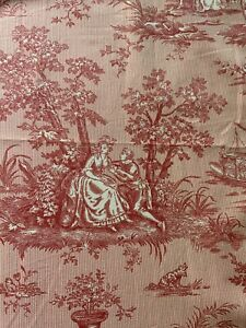 """GORGEOUS ALMA SLADE CUSTOM PINK TOILE DRAPES~90""""LONG 3 PANELS ICLUDED"""