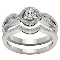 Halo Engagement Bridal Ring Set I1 G 1.25Ct Natural Round Diamond 14k White Gold