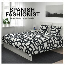 IKEA SKUGGBRÄCKA Quilt cover and 2 pillowcases, white, black, 240x220/50x60 cm