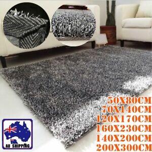 Shag Floor Carpet Mat Rug Fluffy Rectangle Shaggy 6 Sizes Grey HCAR439