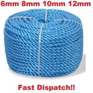 Blue Nylon Rope Polypropylene Poly Tarpaulin 4mm 6mm 8mm 10mm 12mm 14mm Builder