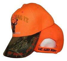 Eat Sleep Hunt Hunting Bag It Tag It Orange & Camouflage Embroidered Cap Hat