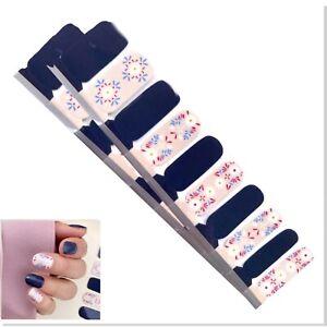 Jaysea Nails Polish Strips - Color Denim Blue Pink Floral Street Nail Art - B4G1