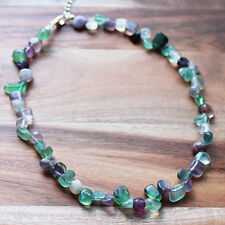 Hand crafted Green/Purple Fluorite Semi-Precious Nugget Stone Necklace